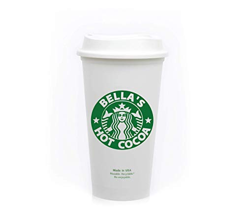 Personalized 16 oz Reusable Coffee Cup Grande Hot Cup with Custom Name and Lids/Sleeves.