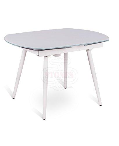 Tavolo Allungabile con Base in Metallo e Top in vetro Kyoto Four Bianco