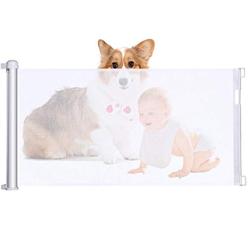 Retractable Baby gate Wide,pet Dog Gates for doorways Tall,for Stairs Safety Guard Rail for Kids