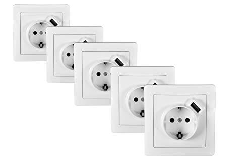 POPP® Conjuntos Interruptor e Enchufe,timbres para la pared Zócalos con USB Toma corrientes de pared,salon cuarto cocinas pasillos oficinas (5 unidad, Enchufe con USB)
