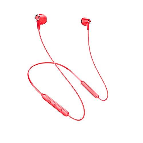 Auriculares Bluetooth, Auriculares Internos Inalámbricos con Reducción De Ruido, Subwoofer Estéreo para Montaje En El Cuello. Correr, Deportes, Fitness. (Versión actualizada,Rojo)
