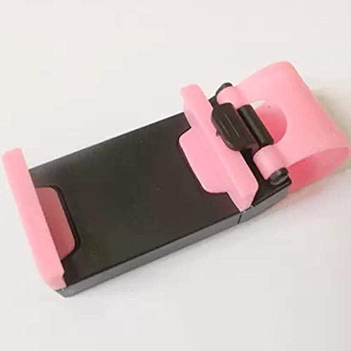 ZYZY Soporte universal para teléfono de coche con clip para volante de coche para iPhone 11 Pro Max X Xr Xs Max 5 6 7 8 para Samsung S8 S9 S10-rosa