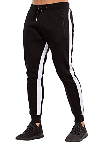 Ouber Men's Gym Jogger Pants Slim Fit Workout Running Sweatpants with Zipper Pockets (L, Black)