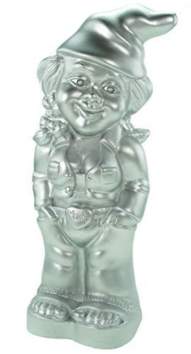 Zwerg Gartenzwerg Zwergenfrau Mandy Silber Edition 34 cm PVC Garten Figur