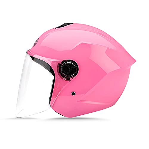 LIONCIANO Cascos De Motocicleta para Hombres y Mujeres, Cascos De Ciclomotor con Viseras.El Cabezal Anticolisión Protege La Seguridad Vial De Los Usuarios(Rosa)