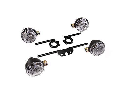 AKF Set: 4 weiße Blinker rund, komplett inkl. Blinkerträger schwarz - für Simson S50, S51, S70