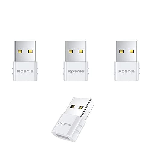 Rpanle Adaptador USB C Hembra a USB Macho, 4 Piezas Adaptador de Cable Tipo C a USB A, para Samsung, Huawei, Computadoras Portátiles, Bancos de Energía y Otros Dispositivos con USB C (Blanco)