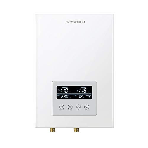 Tankless Water Heater Electric,ECOTOUCH 9KW 240V On Demand Water Heater Self-Modulating Instant Hot Water Heater ECO90 White