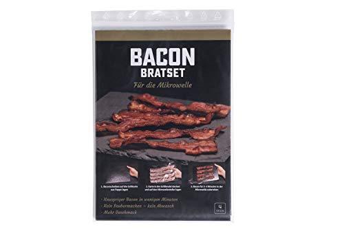 EASYBACON Frischer Knuspriger Bacon – in nur 3 Minuten in der Mikrowelle - Sauber Schnell Geruchlos und ohne Braten