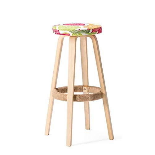 NYDZ Taburete de bar para desayuno, madera maciza, moderno y minimalista pedal de tela para café, cocina (multicolor opcional) (color: A)