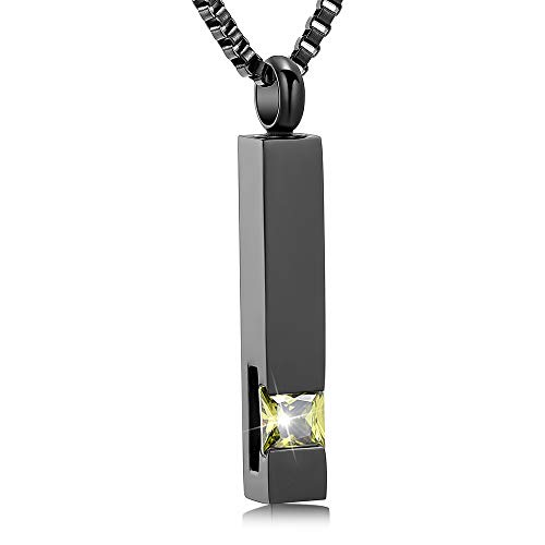 XSMZB Crystal Cremation Urn Jewelry Cube Memorial Ashes Necklace Pendant Keepsake- Black Birthstone Series(Tea)