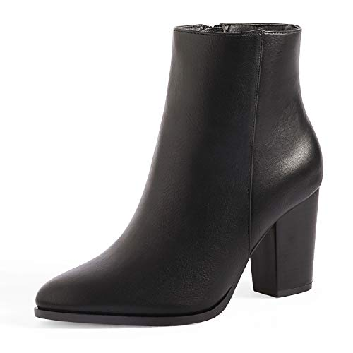 DREAM PAIRS Women's Black Pu Chunky Block Heel Ankle Booties Size 10 B(M) US Anita