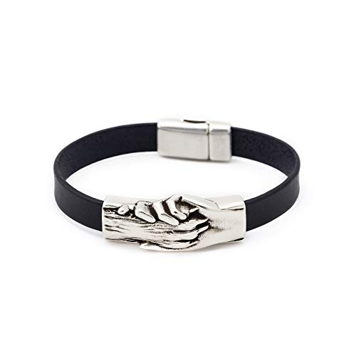 Silver-Plated Hand and Dog Paw Symbol Flat Bracelet, Genuine Leather Bracelet for Women and Men, Magnetic Clasp, Ideal for Pet Lovers and Pet Memorial, Flat Dyed Leather, Black Color, Large