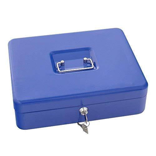 Rottner Geldkassette Traun 4 Blau, Geldzählkassette, Kasse mit unterteilten Geldeinsatz, Zylinderschloss