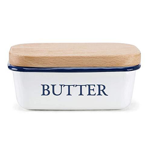 Caja de mantequilla Placa de mantequilla de recipiente de cerámica con tapa de la tapa Caja de contenedor de plato plato caja de almacenamiento (Color : Type 1)