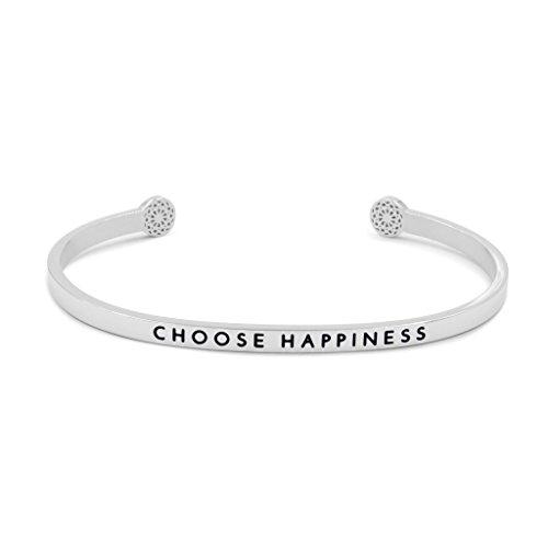 Simple Pledge - Choose Happiness - Armreif in Silber mit Gravur für Damen