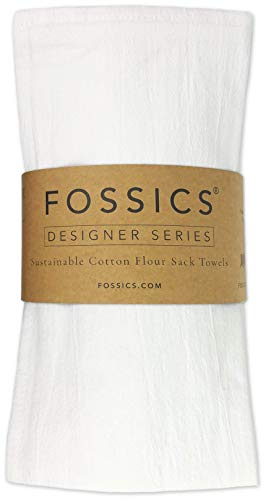 FOSSICS Flour Sack Kitchen Dish Towels Woven from 100% Responsibly-Farmed Natural Cotton for Drying Dishes, Stemware, Glass and Embroidery, Zero Lint, Oversized 27 x 27 inches, One Dozen, White