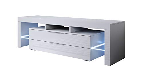 muebles bonitos - Mueble TV Modelo Selma (160x53cm) Color Blanco con LED RGB