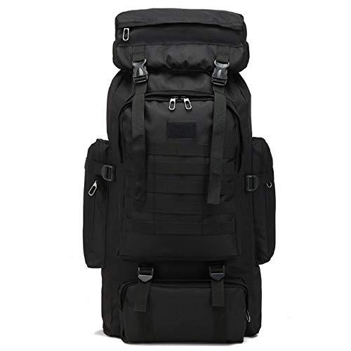 Gaetooely 80L Hunting Camping Rucksack Mountaineering Unisex Travel Outdoor Sport Bags Backpacks Outdoor Backpack Black
