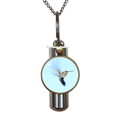 Ni36uo0qitian0ozaap Collar de urna de cremación de colibrí Colibri, Collar con urna de cremación de pajaritos y pajaritos, Regalo de la Naturaleza, Estilo Tropical, Regalo de néctar Colibri, TAP366