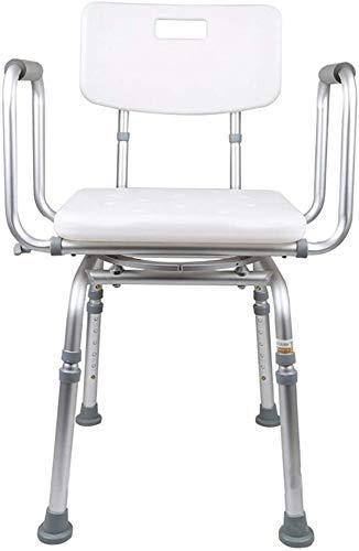 Silla de ducha giratoria de 360 grados, banco de asiento de bañera ajustable y banco de asiento de bañera con reposabrazos de respaldo, adecuado para ancianos, mujeres embarazadas
