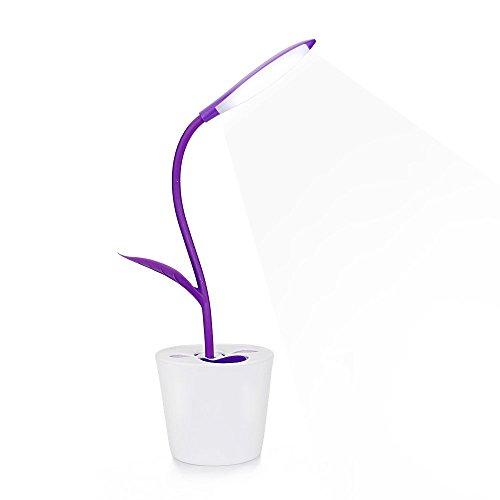 LED Schreibtischlampe, Intelligente Touch Schalter Led Pflanze Lampe Einstellbare Faltbare Augen Pflege Lesen Nacht Lampe Portable wiederaufladbare Kinder Buch Licht mit Bleistift Halter TD015 Lila