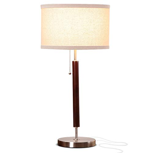 brightech desk lamps Brightech Carter Nightstand & Side Table Lamp - Contemporary Bedroom Lamp for Soft Bedside Light - Stainless Steel & Wood Finish