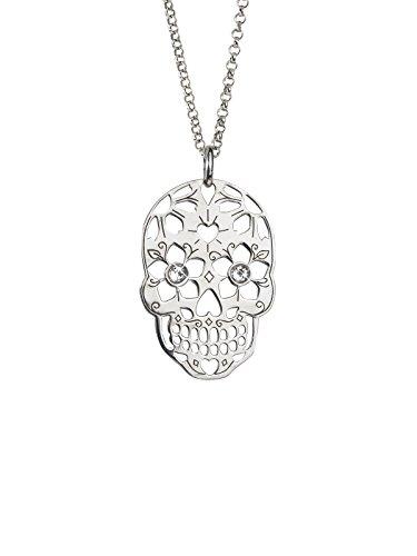 Aka Gioielli® - Collier Tête de Mort avec Pendentif Crâne en Argent 925 Rhodié et cristal Swarovski, Cadeau Femme