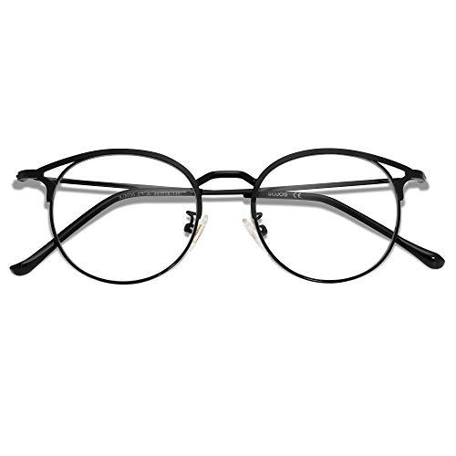 SOJOS Gafas de Filtro de Luz Azul para Computador Lentes Antireflejantes para Mujer Ojo de Gato Marco de metal SJ5035 Con Marco Negro