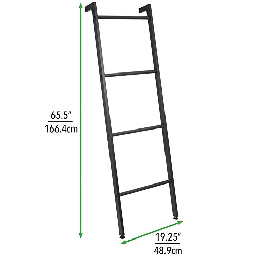 mDesign Metal Free Standing Leaning Decorative Bath Towel Bar Storage Ladder - Holds Towels, Blankets, Throw Blankets, Quilts - 4 Levels - Matte Black