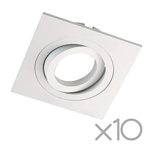 Wonderlamp Clasic W-E0 Foco empotrable cuadrado, Blanco, 10 Unidades