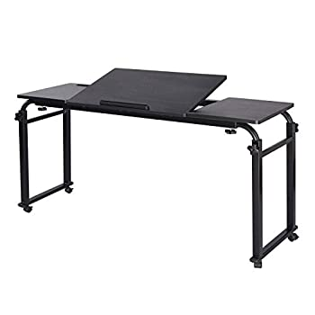 Overbed Table with Wheels Mobile Laptop Desk Cart Computer Table Over The Bed Table Adjustable Height and Length with Tilt Stand Board for Hospital and Home
