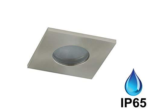 faretto da incasso a soffitto cartongesso quadrato per bagno doccia ip65 metallo nickel gu10 led garanzia 5 anni impermeabile