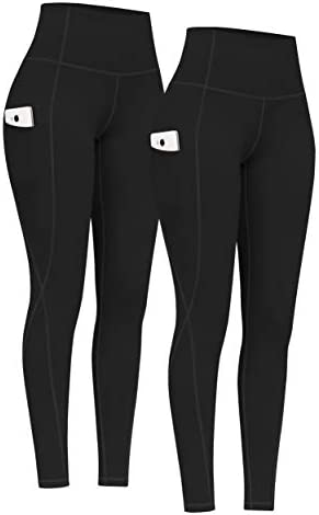 PHISOCKAT 2 Pack High Waist Yoga Pants with Pockets Tummy Control Yoga Pants for Women Workout product image