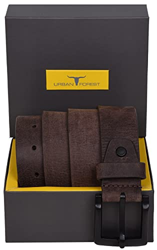 Urban Forest Dark Brown Casual Leather Belt with Matte Black Buckle for Men