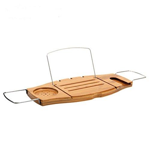 Dreamaccess Plateau coulissant pliable pour salle de bain - Pour savon, livre, téléphone portable, iPad - En bambou - Style A