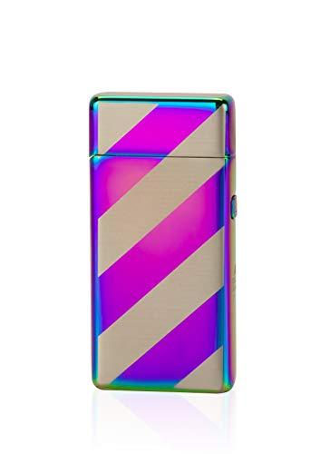 TESLA Lighter T05 Lichtbogen Feuerzeug, Plasma Double-Arc, elektronisch wiederaufladbar, aufladbar mit Strom per USB, ohne Gas und Benzin, mit Ladekabel, in Geschenkverpackung, Regenbogen gestreift