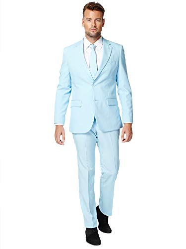 OppoSuits Solid Color Party for Men – Cool Blue – Full Suit: Includes Pants, Jacket and Tie Costume d39homme, 48 Homme