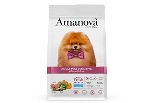 Amanova Cibo Secco Super Premium per Cani di Taglia Piccola con Pelle e Pelo sensibili Gusto Salmone - 100% Naturale, ipoallergenico e monoproteico - Grain Free - Cruelty Free - Formato da 2 kg
