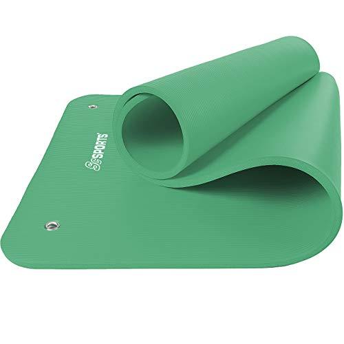 ScSPORTS® Gymnastikmatte dick & rutschfest, Yoga-Matte mit Ösen & Schultergurt, 185 cm x 80 cm x 1,5 cm, universeller Einsatz im Fitnessstudio oder zu Hause (grün)