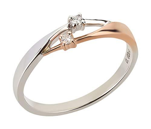 Ardeo Aurum Damenring aus 375 Gold bicolor Weißgold Rosegold mit 0,04 ct Diamant Brillant Verlobungsring