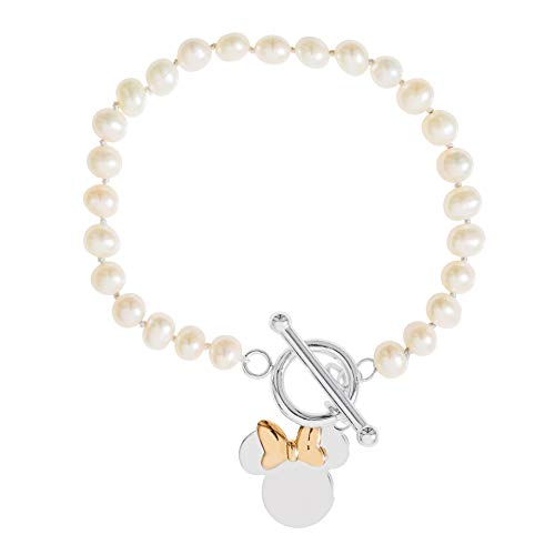Disney Mickey and Minnie Mouse Jewelry, Sterling Silver Minnie Mouse Pearl Bracelet,
