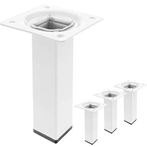 PrimeMatik - Pies Cuadrados para Mesa y Mueble. Patas en Acero Blancas de 10cm 4-Pack
