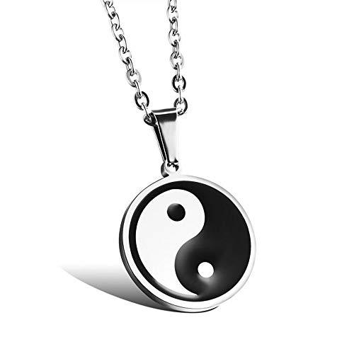 Collar con colgante de acero inoxidable con símbolo taoísta chino Yin-Yang Taichi Yoga para hombres y mujeres