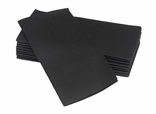 Simulinen Colored Napkins - Decorative Cloth Like & Disposable, Dinner Napkins - Rich Black - Soft, Absorbent & Durable - 16