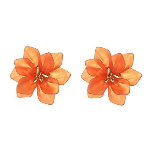 QIN Anello dell'orecchio del Fiore Squisito Donna Acrilico Big Bianco Orecchini di Festa Verde Arancione Arancione