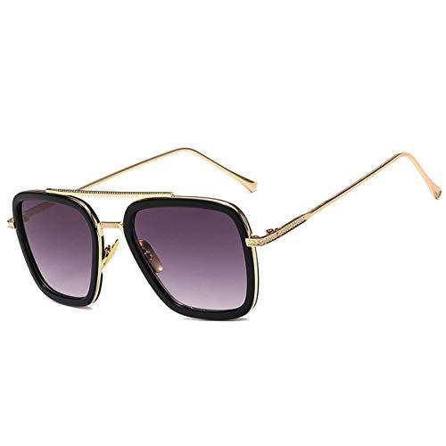 Gafas de sol con montura metálica retro Super Star/Gafas cuadradas Tony Stark/Gafas para hombres Mujeres Gafas de sol