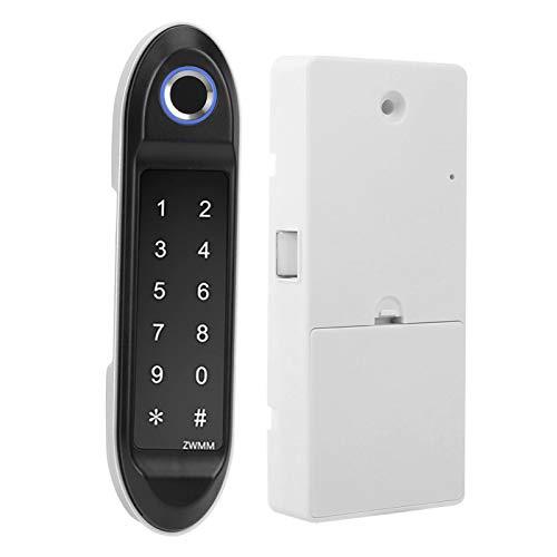 Cerradura de armario con huella digital, armario antirrobo, bajo consumo de energía, seguro con 3 métodos de desbloqueo, dispositivo de seguridad para el hogar, práctico para(Silver)
