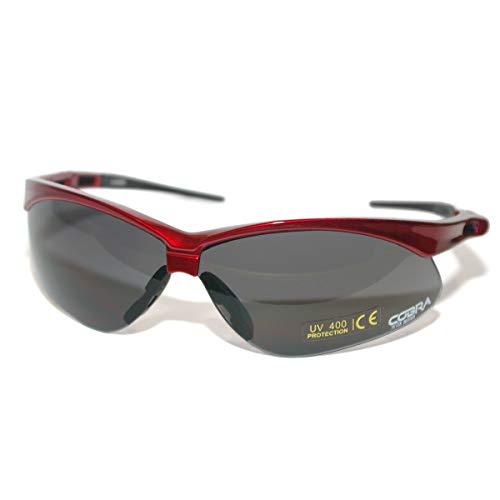 Cobra Taktische Airsoft Brille | Antibeschlag Schießbrille | Schutzbrille | Arbeits- und Schussbrillen mit rotem Rahmen, graue Gläser | die beste Schutzbrille für Männer und Frauen