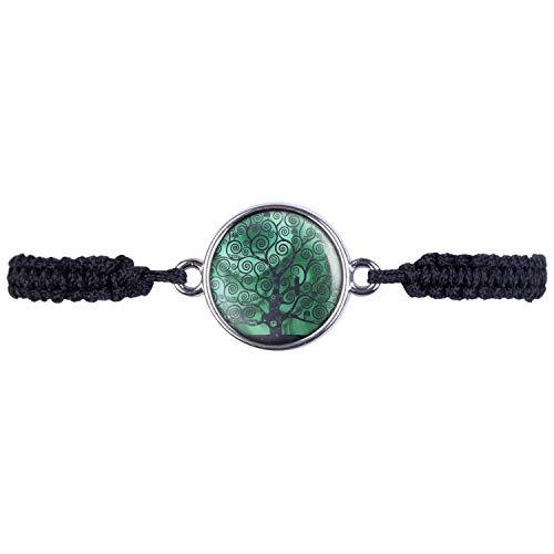 Mylery Armband mit Motiv Lebens-Baum Welten-Baum Baum des Lebens Heil-Stein Malachit Silber 16mm